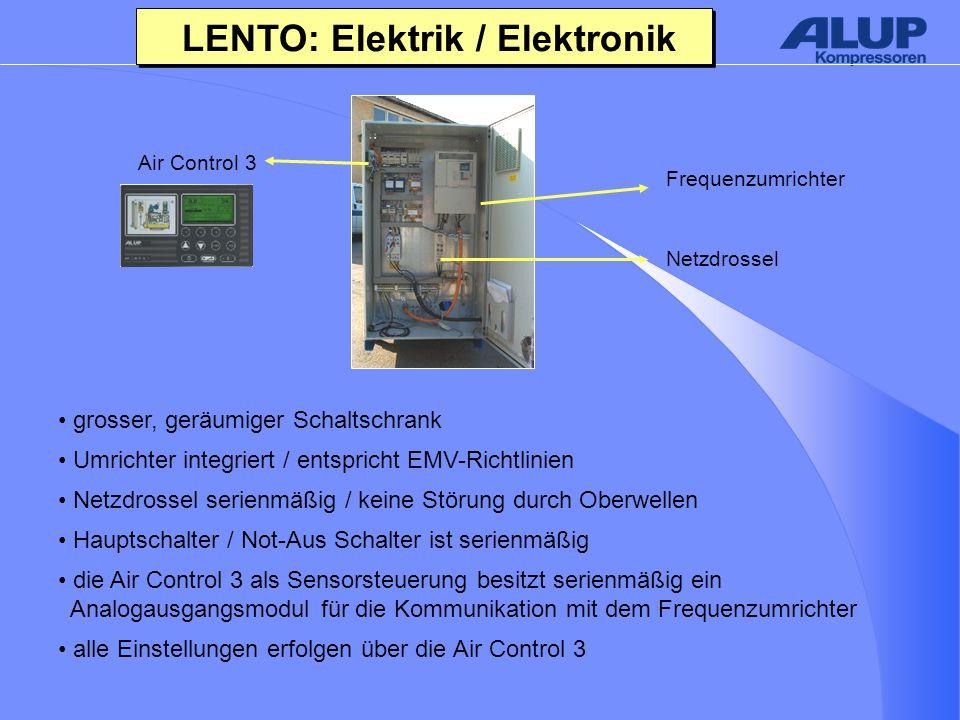 LENTO: Elektrik / Elektronik grosser, geräumiger Schaltschrank Umrichter integriert / entspricht EMV-Richtlinien Netzdrossel serienmäßig / keine Störung durch Oberwellen Hauptschalter / Not-Aus Schalter ist serienmäßig die Air Control 3 als Sensorsteuerung besitzt serienmäßig ein Analogausgangsmodul für die Kommunikation mit dem Frequenzumrichter alle Einstellungen erfolgen über die Air Control 3 Frequenzumrichter Netzdrossel Air Control 3