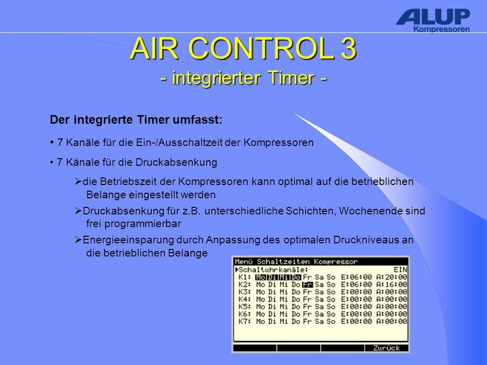 AIR CONTROL 3 - integrierter Timer - Der integrierte Timer umfasst: 7 Kanäle für die Ein-/Ausschaltzeit der Kompressoren 7 Känale für die Druckabsenkung  die Betriebszeit der Kompressoren kann optimal auf die betrieblichen Belange eingestellt werden  Druckabsenkung für z.B.