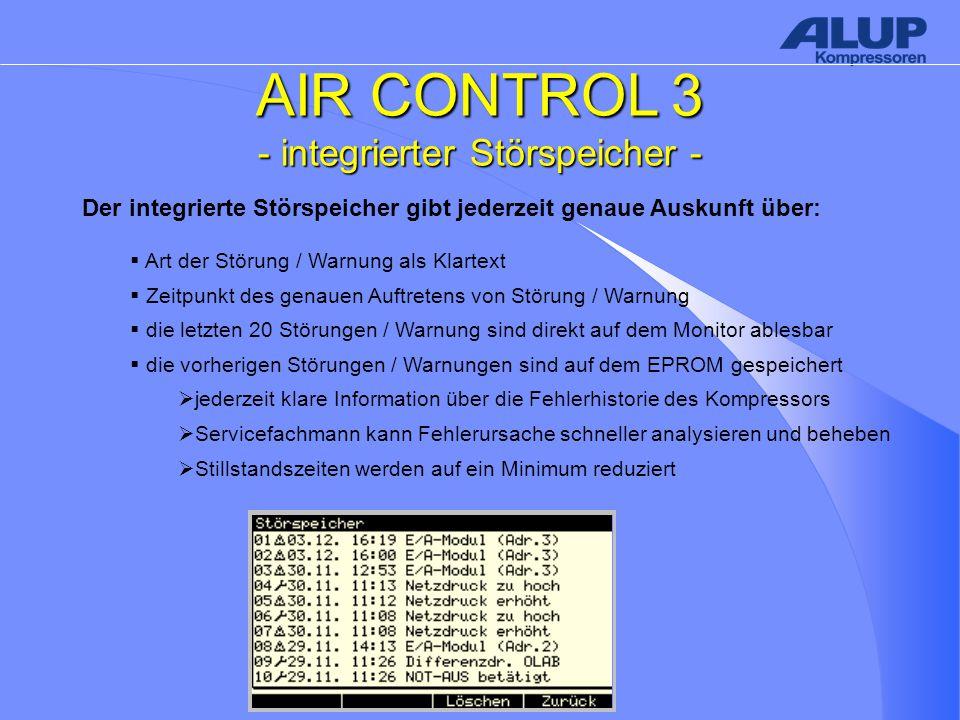 AIR CONTROL 3 - integrierter Störspeicher - Der integrierte Störspeicher gibt jederzeit genaue Auskunft über:  Art der Störung / Warnung als Klartext  Zeitpunkt des genauen Auftretens von Störung / Warnung  die letzten 20 Störungen / Warnung sind direkt auf dem Monitor ablesbar  die vorherigen Störungen / Warnungen sind auf dem EPROM gespeichert  jederzeit klare Information über die Fehlerhistorie des Kompressors  Servicefachmann kann Fehlerursache schneller analysieren und beheben  Stillstandszeiten werden auf ein Minimum reduziert