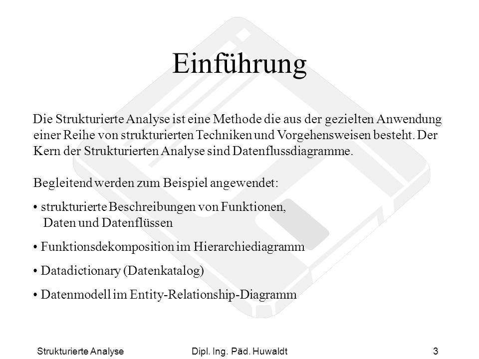 Strukturierte AnalyseDipl. Ing. Päd. Huwaldt3 Einführung Die Strukturierte Analyse ist eine Methode die aus der gezielten Anwendung einer Reihe von st