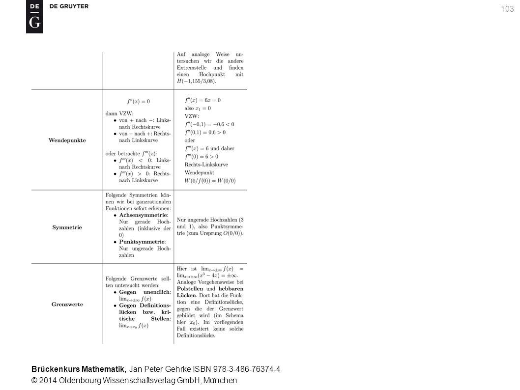 Brückenkurs Mathematik, Jan Peter Gehrke ISBN 978-3-486-76374-4 © 2014 Oldenbourg Wissenschaftsverlag GmbH, Mu ̈ nchen 103
