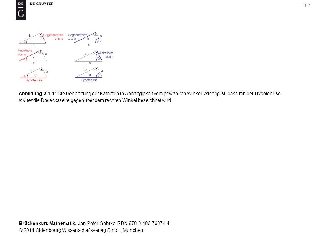 Brückenkurs Mathematik, Jan Peter Gehrke ISBN 978-3-486-76374-4 © 2014 Oldenbourg Wissenschaftsverlag GmbH, Mu ̈ nchen 107 Abbildung X.1.1: Die Benennung der Katheten in Abhängigkeit vom gewählten Winkel.