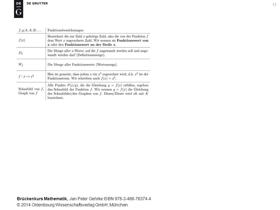 Brückenkurs Mathematik, Jan Peter Gehrke ISBN 978-3-486-76374-4 © 2014 Oldenbourg Wissenschaftsverlag GmbH, Mu ̈ nchen 11