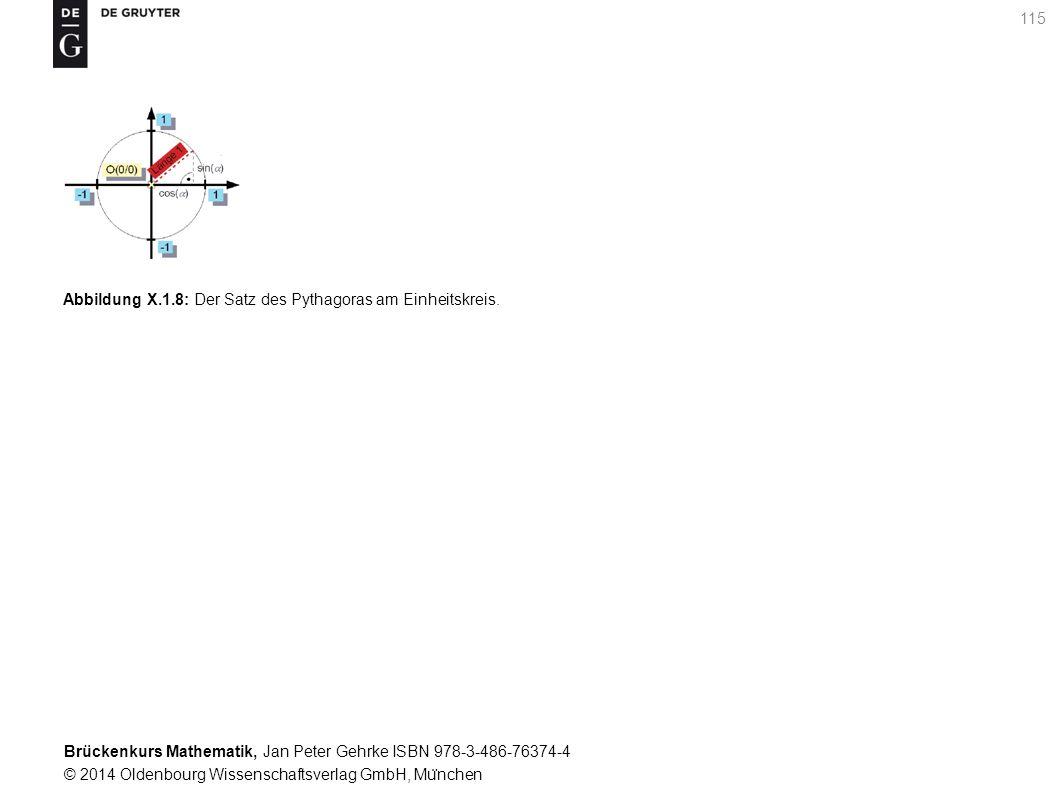 Brückenkurs Mathematik, Jan Peter Gehrke ISBN 978-3-486-76374-4 © 2014 Oldenbourg Wissenschaftsverlag GmbH, Mu ̈ nchen 115 Abbildung X.1.8: Der Satz des Pythagoras am Einheitskreis.