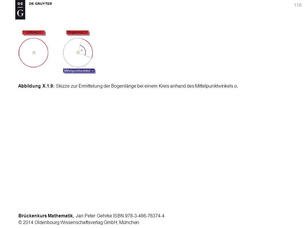 Brückenkurs Mathematik, Jan Peter Gehrke ISBN 978-3-486-76374-4 © 2014 Oldenbourg Wissenschaftsverlag GmbH, Mu ̈ nchen 116 Abbildung X.1.9: Skizze zur Ermittelung der Bogenlänge bei einem Kreis anhand des Mittelpunktwinkels α.