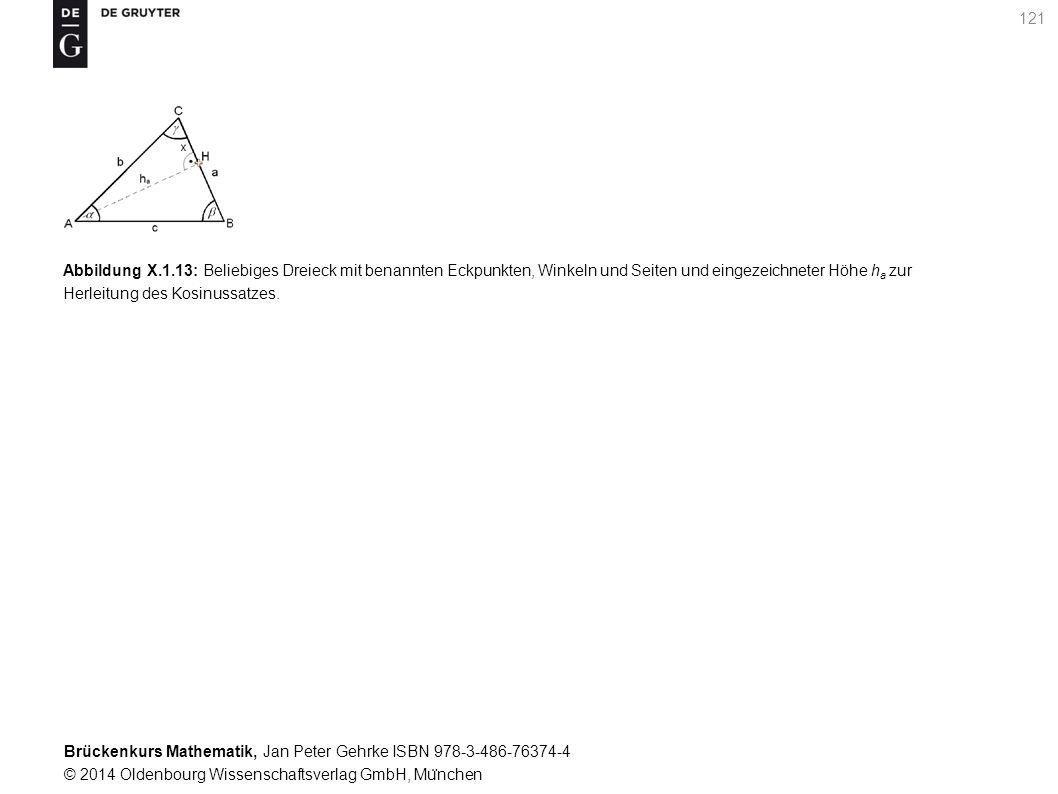 Brückenkurs Mathematik, Jan Peter Gehrke ISBN 978-3-486-76374-4 © 2014 Oldenbourg Wissenschaftsverlag GmbH, Mu ̈ nchen 121 Abbildung X.1.13: Beliebiges Dreieck mit benannten Eckpunkten, Winkeln und Seiten und eingezeichneter Höhe h a zur Herleitung des Kosinussatzes.