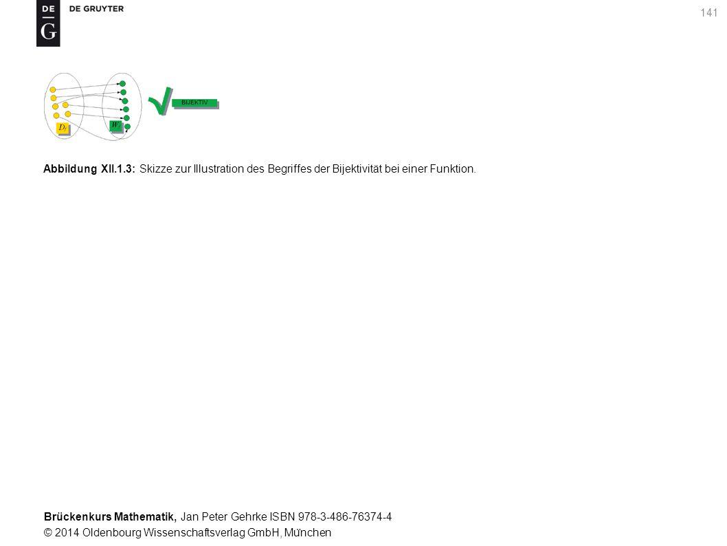 Brückenkurs Mathematik, Jan Peter Gehrke ISBN 978-3-486-76374-4 © 2014 Oldenbourg Wissenschaftsverlag GmbH, Mu ̈ nchen 141 Abbildung XII.1.3: Skizze zur Illustration des Begriffes der Bijektivität bei einer Funktion.