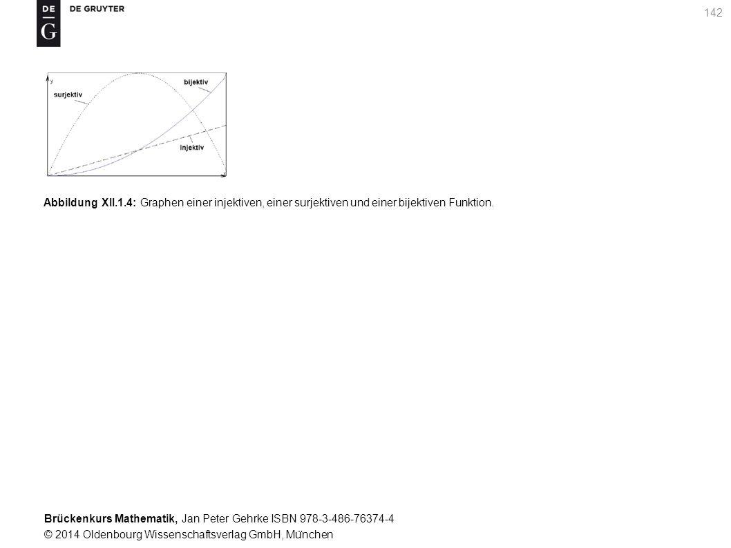 Brückenkurs Mathematik, Jan Peter Gehrke ISBN 978-3-486-76374-4 © 2014 Oldenbourg Wissenschaftsverlag GmbH, Mu ̈ nchen 142 Abbildung XII.1.4: Graphen einer injektiven, einer surjektiven und einer bijektiven Funktion.