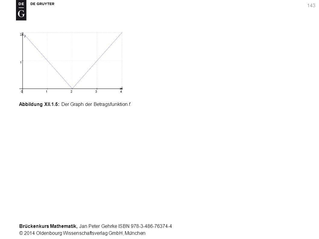 Brückenkurs Mathematik, Jan Peter Gehrke ISBN 978-3-486-76374-4 © 2014 Oldenbourg Wissenschaftsverlag GmbH, Mu ̈ nchen 143 Abbildung XII.1.5: Der Graph der Betragsfunktion f.