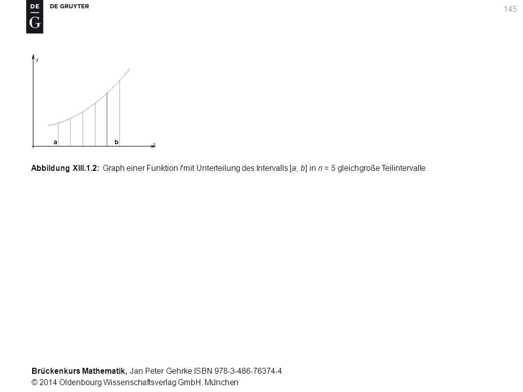 Brückenkurs Mathematik, Jan Peter Gehrke ISBN 978-3-486-76374-4 © 2014 Oldenbourg Wissenschaftsverlag GmbH, Mu ̈ nchen 145 Abbildung XIII.1.2: Graph einer Funktion f mit Unterteilung des Intervalls [a; b] in n = 5 gleichgroße Teilintervalle.