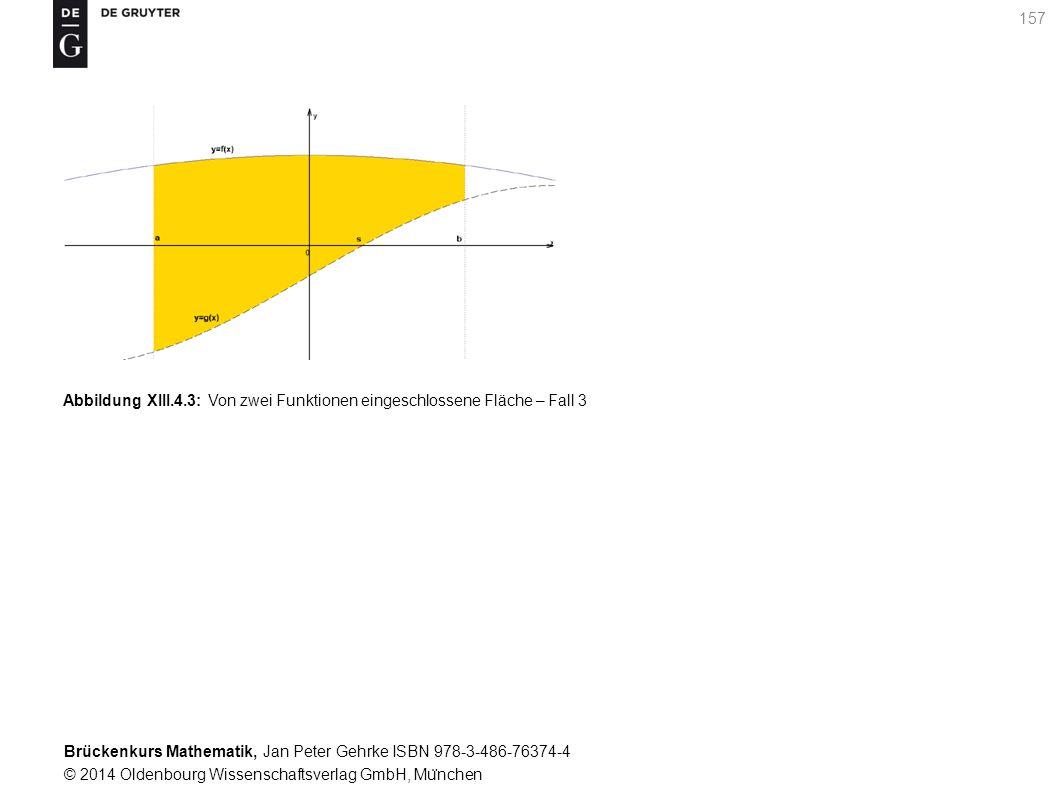 Brückenkurs Mathematik, Jan Peter Gehrke ISBN 978-3-486-76374-4 © 2014 Oldenbourg Wissenschaftsverlag GmbH, Mu ̈ nchen 157 Abbildung XIII.4.3: Von zwei Funktionen eingeschlossene Fläche – Fall 3