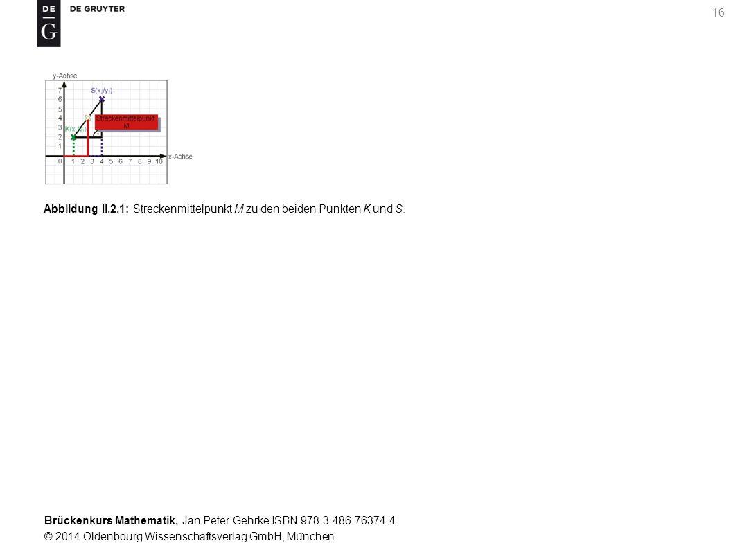 Brückenkurs Mathematik, Jan Peter Gehrke ISBN 978-3-486-76374-4 © 2014 Oldenbourg Wissenschaftsverlag GmbH, Mu ̈ nchen 16 Abbildung II.2.1: Streckenmittelpunkt M zu den beiden Punkten K und S.