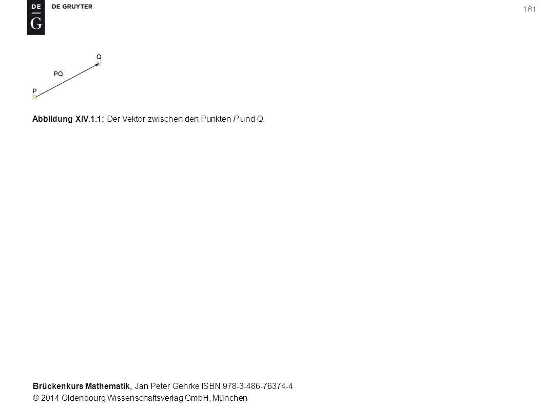 Brückenkurs Mathematik, Jan Peter Gehrke ISBN 978-3-486-76374-4 © 2014 Oldenbourg Wissenschaftsverlag GmbH, Mu ̈ nchen 161 Abbildung XIV.1.1: Der Vektor zwischen den Punkten P und Q.