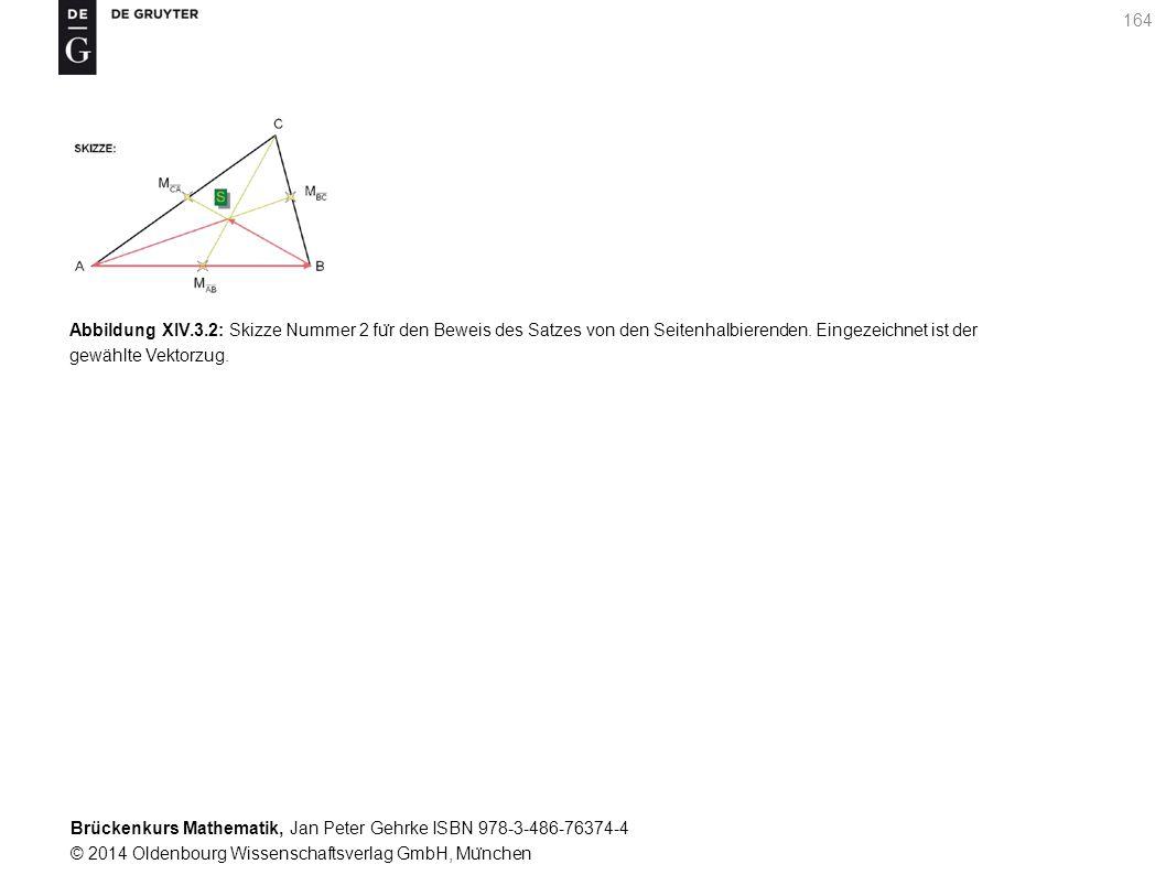 Brückenkurs Mathematik, Jan Peter Gehrke ISBN 978-3-486-76374-4 © 2014 Oldenbourg Wissenschaftsverlag GmbH, Mu ̈ nchen 164 Abbildung XIV.3.2: Skizze Nummer 2 fu ̈ r den Beweis des Satzes von den Seitenhalbierenden.