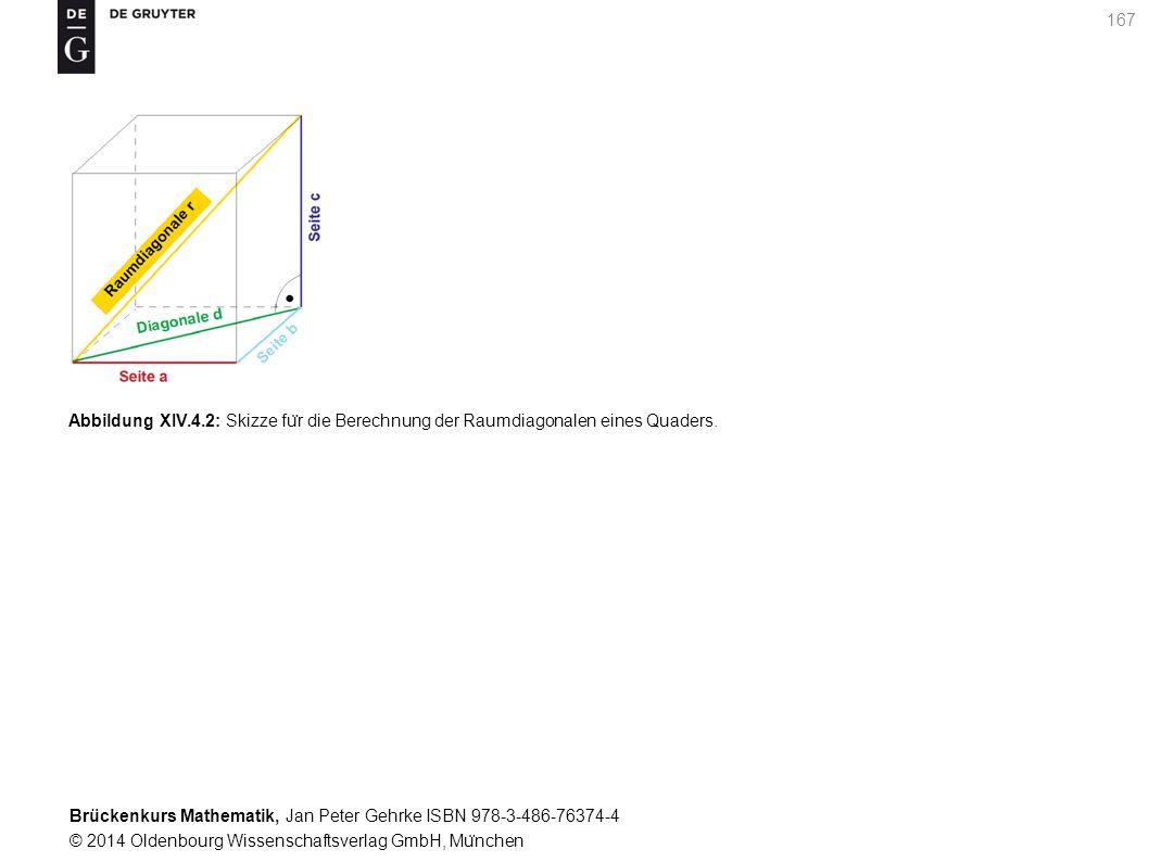 Brückenkurs Mathematik, Jan Peter Gehrke ISBN 978-3-486-76374-4 © 2014 Oldenbourg Wissenschaftsverlag GmbH, Mu ̈ nchen 167 Abbildung XIV.4.2: Skizze fu ̈ r die Berechnung der Raumdiagonalen eines Quaders.