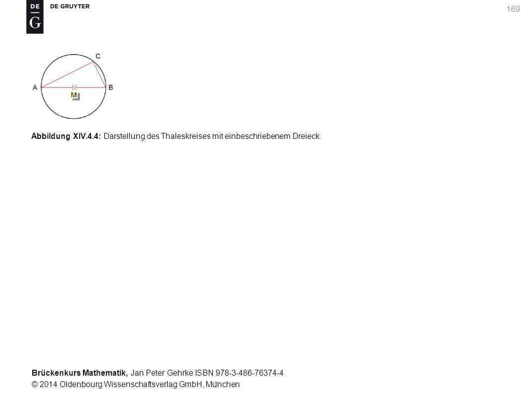 Brückenkurs Mathematik, Jan Peter Gehrke ISBN 978-3-486-76374-4 © 2014 Oldenbourg Wissenschaftsverlag GmbH, Mu ̈ nchen 169 Abbildung XIV.4.4: Darstellung des Thaleskreises mit einbeschriebenem Dreieck.