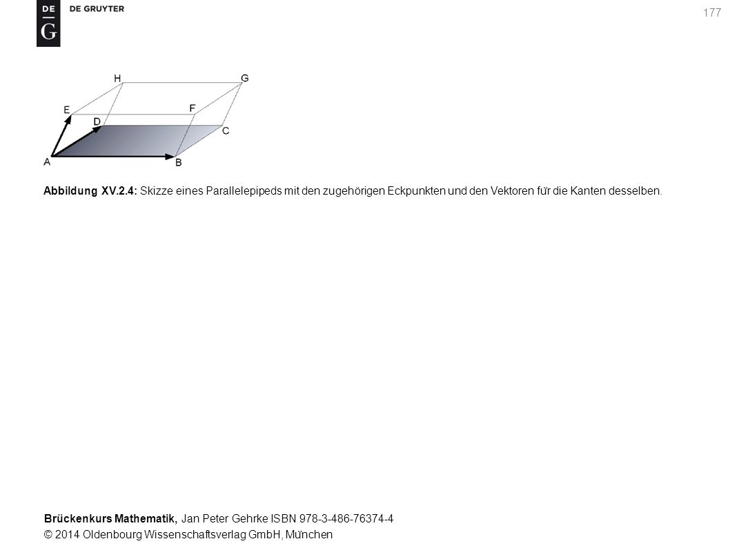Brückenkurs Mathematik, Jan Peter Gehrke ISBN 978-3-486-76374-4 © 2014 Oldenbourg Wissenschaftsverlag GmbH, Mu ̈ nchen 177 Abbildung XV.2.4: Skizze eines Parallelepipeds mit den zugehörigen Eckpunkten und den Vektoren fu ̈ r die Kanten desselben.