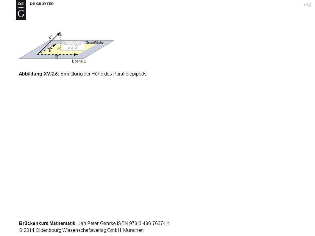 Brückenkurs Mathematik, Jan Peter Gehrke ISBN 978-3-486-76374-4 © 2014 Oldenbourg Wissenschaftsverlag GmbH, Mu ̈ nchen 178 Abbildung XV.2.5: Ermittlung der Höhe des Parallelepipeds.
