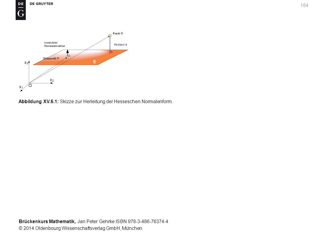 Brückenkurs Mathematik, Jan Peter Gehrke ISBN 978-3-486-76374-4 © 2014 Oldenbourg Wissenschaftsverlag GmbH, Mu ̈ nchen 184 Abbildung XV.6.1: Skizze zur Herleitung der Hesseschen Normalenform.