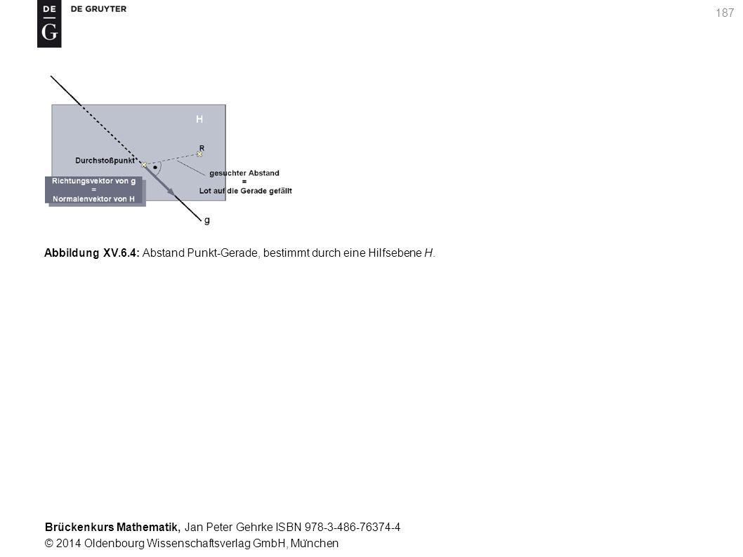 Brückenkurs Mathematik, Jan Peter Gehrke ISBN 978-3-486-76374-4 © 2014 Oldenbourg Wissenschaftsverlag GmbH, Mu ̈ nchen 187 Abbildung XV.6.4: Abstand Punkt-Gerade, bestimmt durch eine Hilfsebene H.