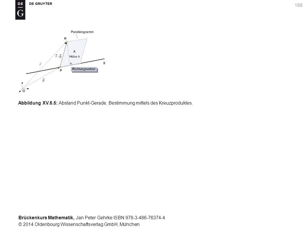 Brückenkurs Mathematik, Jan Peter Gehrke ISBN 978-3-486-76374-4 © 2014 Oldenbourg Wissenschaftsverlag GmbH, Mu ̈ nchen 188 Abbildung XV.6.5: Abstand Punkt-Gerade, Bestimmung mittels des Kreuzproduktes.