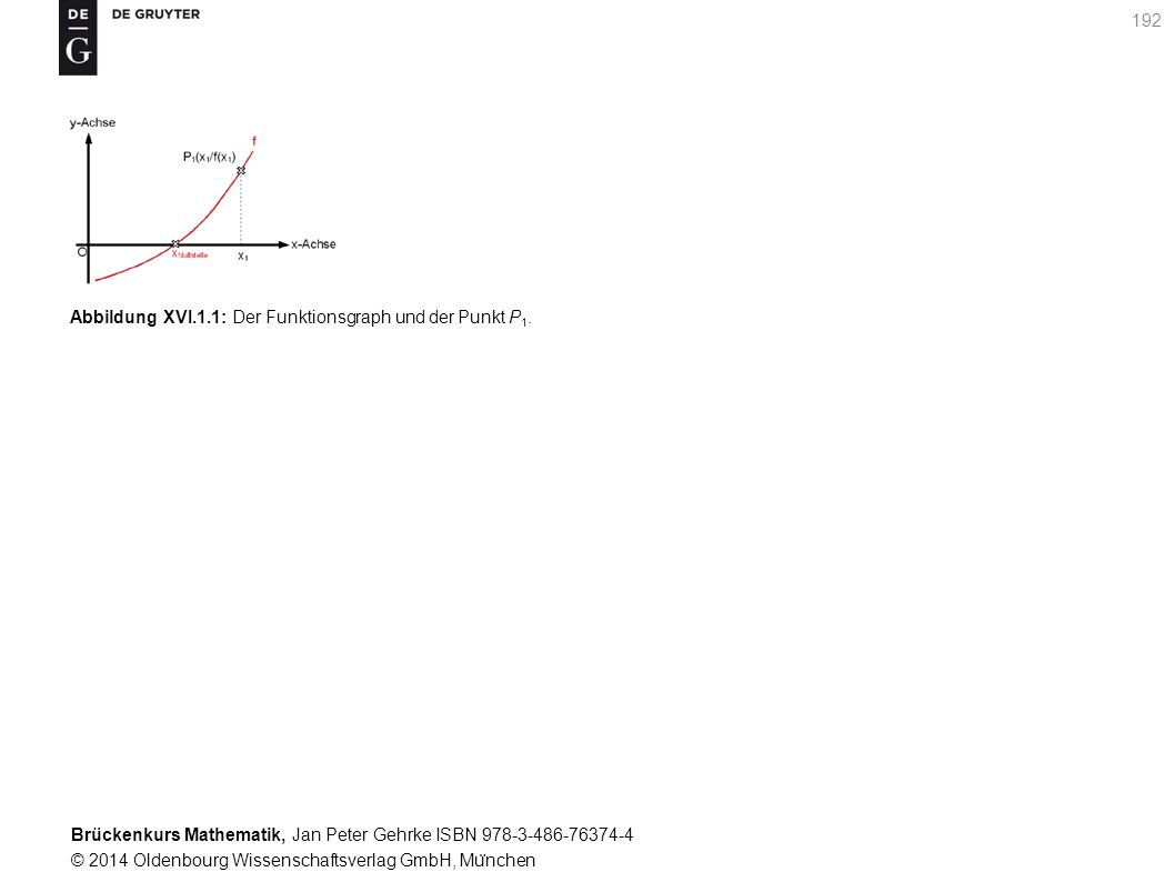 Brückenkurs Mathematik, Jan Peter Gehrke ISBN 978-3-486-76374-4 © 2014 Oldenbourg Wissenschaftsverlag GmbH, Mu ̈ nchen 192 Abbildung XVI.1.1: Der Funktionsgraph und der Punkt P 1.