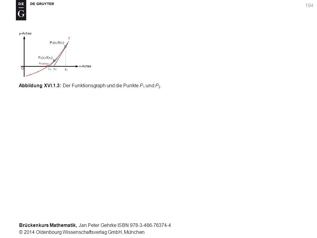 Brückenkurs Mathematik, Jan Peter Gehrke ISBN 978-3-486-76374-4 © 2014 Oldenbourg Wissenschaftsverlag GmbH, Mu ̈ nchen 194 Abbildung XVI.1.3: Der Funktionsgraph und die Punkte P 1 und P 2.