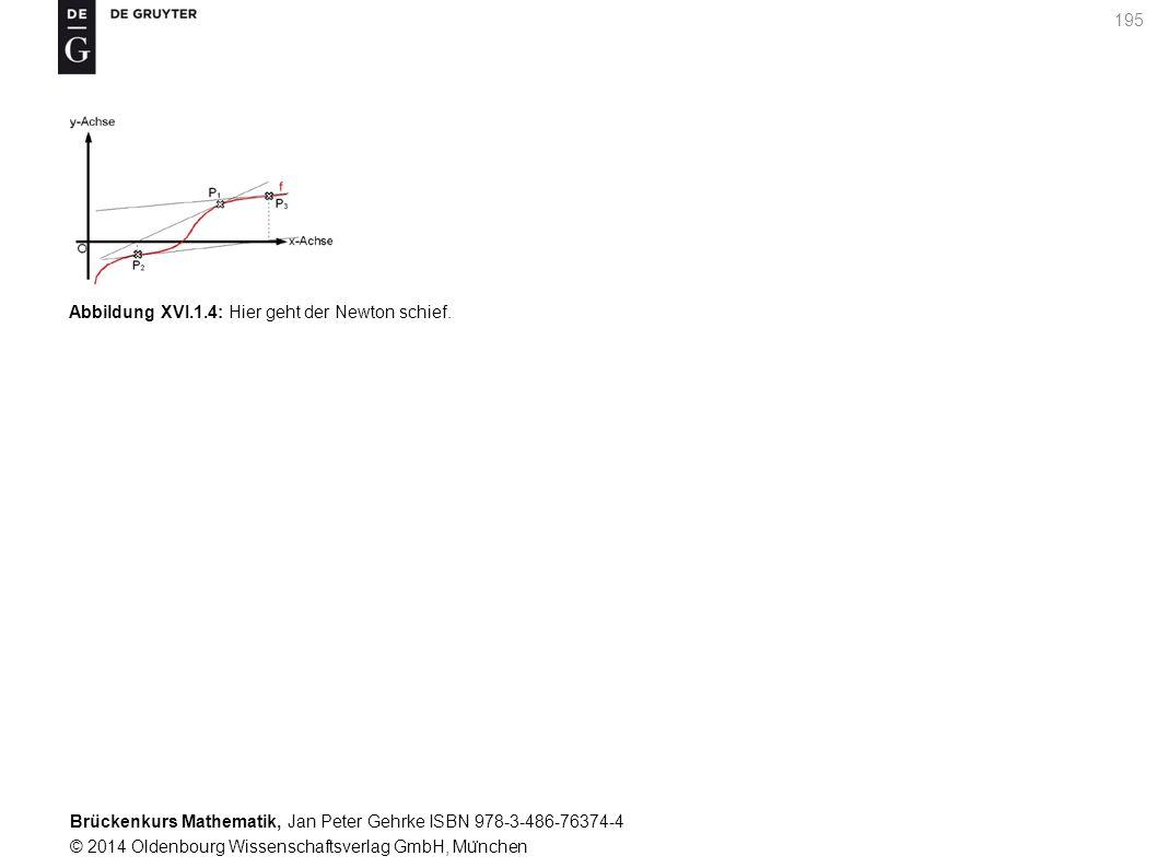 Brückenkurs Mathematik, Jan Peter Gehrke ISBN 978-3-486-76374-4 © 2014 Oldenbourg Wissenschaftsverlag GmbH, Mu ̈ nchen 195 Abbildung XVI.1.4: Hier geht der Newton schief.