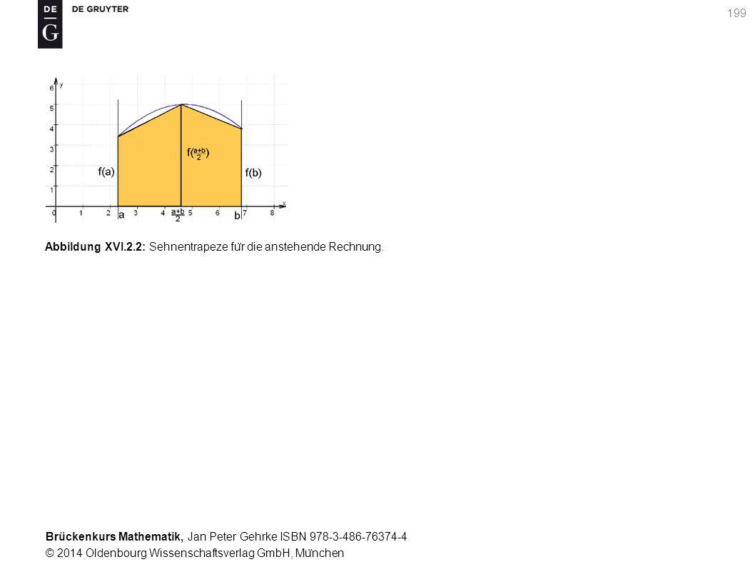 Brückenkurs Mathematik, Jan Peter Gehrke ISBN 978-3-486-76374-4 © 2014 Oldenbourg Wissenschaftsverlag GmbH, Mu ̈ nchen 199 Abbildung XVI.2.2: Sehnentrapeze fu ̈ r die anstehende Rechnung.