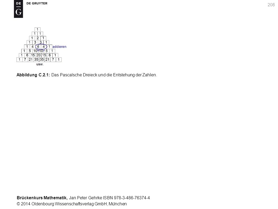 Brückenkurs Mathematik, Jan Peter Gehrke ISBN 978-3-486-76374-4 © 2014 Oldenbourg Wissenschaftsverlag GmbH, Mu ̈ nchen 208 Abbildung C.2.1: Das Pascalsche Dreieck und die Entstehung der Zahlen.