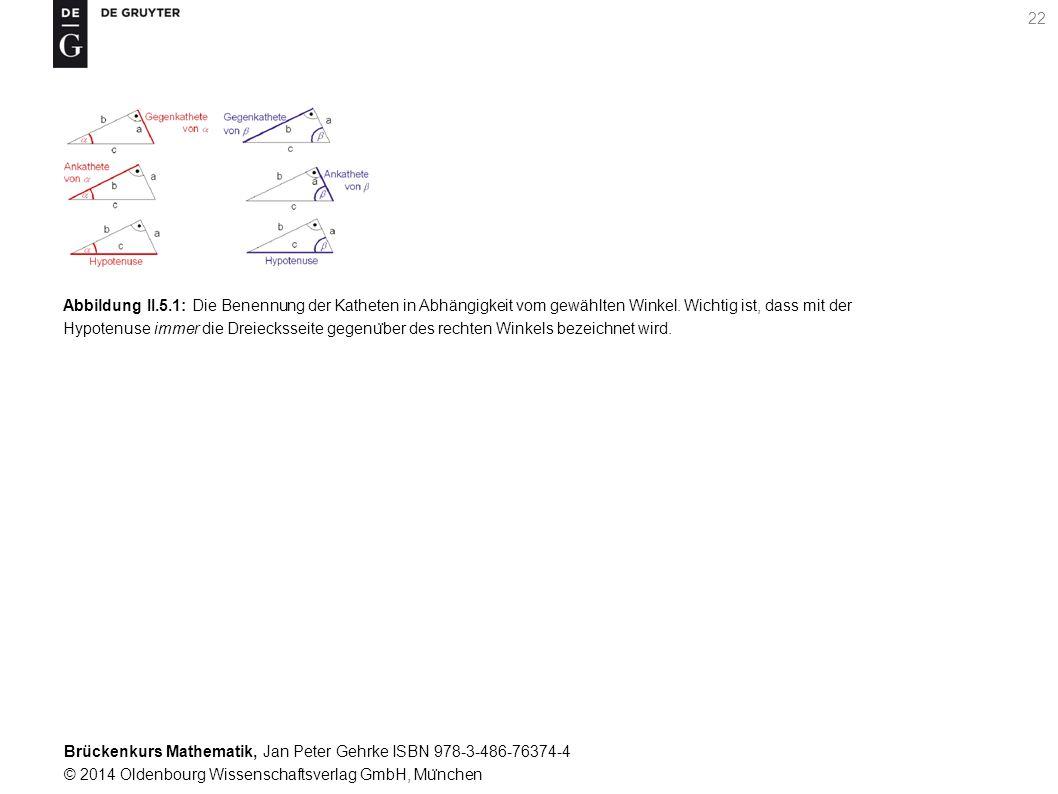 Brückenkurs Mathematik, Jan Peter Gehrke ISBN 978-3-486-76374-4 © 2014 Oldenbourg Wissenschaftsverlag GmbH, Mu ̈ nchen 22 Abbildung II.5.1: Die Benennung der Katheten in Abhängigkeit vom gewählten Winkel.