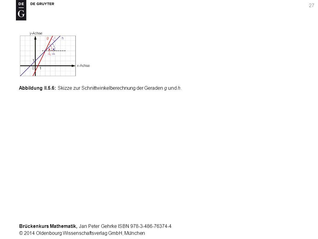 Brückenkurs Mathematik, Jan Peter Gehrke ISBN 978-3-486-76374-4 © 2014 Oldenbourg Wissenschaftsverlag GmbH, Mu ̈ nchen 27 Abbildung II.5.6: Skizze zur Schnittwinkelberechnung der Geraden g und h.