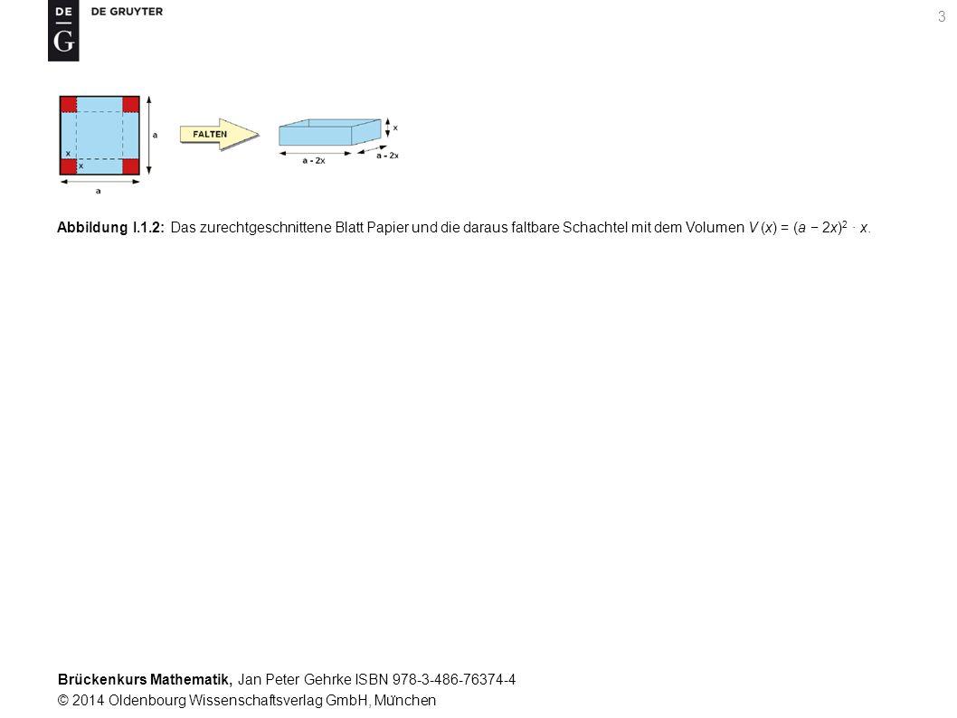 Brückenkurs Mathematik, Jan Peter Gehrke ISBN 978-3-486-76374-4 © 2014 Oldenbourg Wissenschaftsverlag GmbH, Mu ̈ nchen 3 Abbildung I.1.2: Das zurechtgeschnittene Blatt Papier und die daraus faltbare Schachtel mit dem Volumen V (x) = (a − 2x) 2 · x.