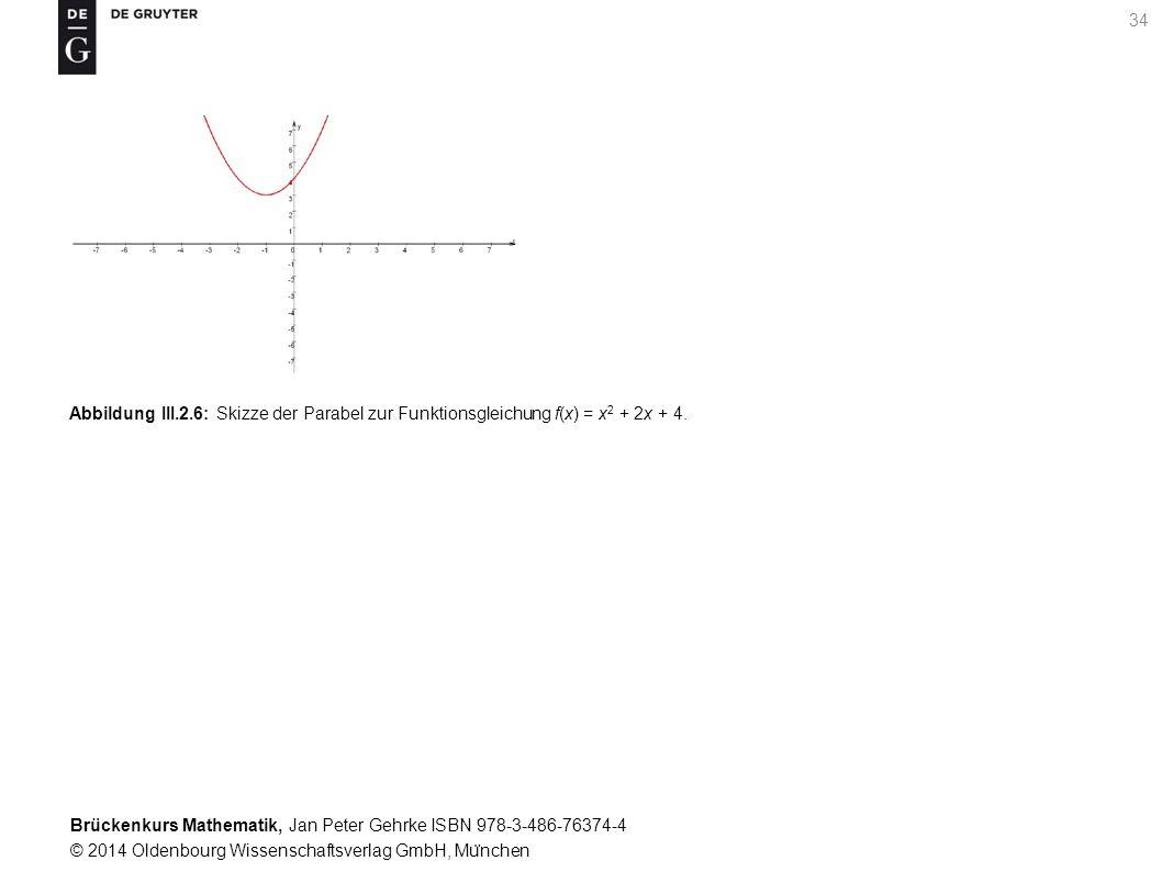 Brückenkurs Mathematik, Jan Peter Gehrke ISBN 978-3-486-76374-4 © 2014 Oldenbourg Wissenschaftsverlag GmbH, Mu ̈ nchen 34 Abbildung III.2.6: Skizze der Parabel zur Funktionsgleichung f(x) = x 2 + 2x + 4.