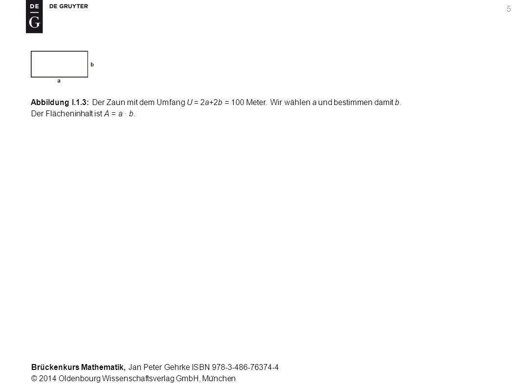 Brückenkurs Mathematik, Jan Peter Gehrke ISBN 978-3-486-76374-4 © 2014 Oldenbourg Wissenschaftsverlag GmbH, Mu ̈ nchen 5 Abbildung I.1.3: Der Zaun mit dem Umfang U = 2a+2b = 100 Meter.