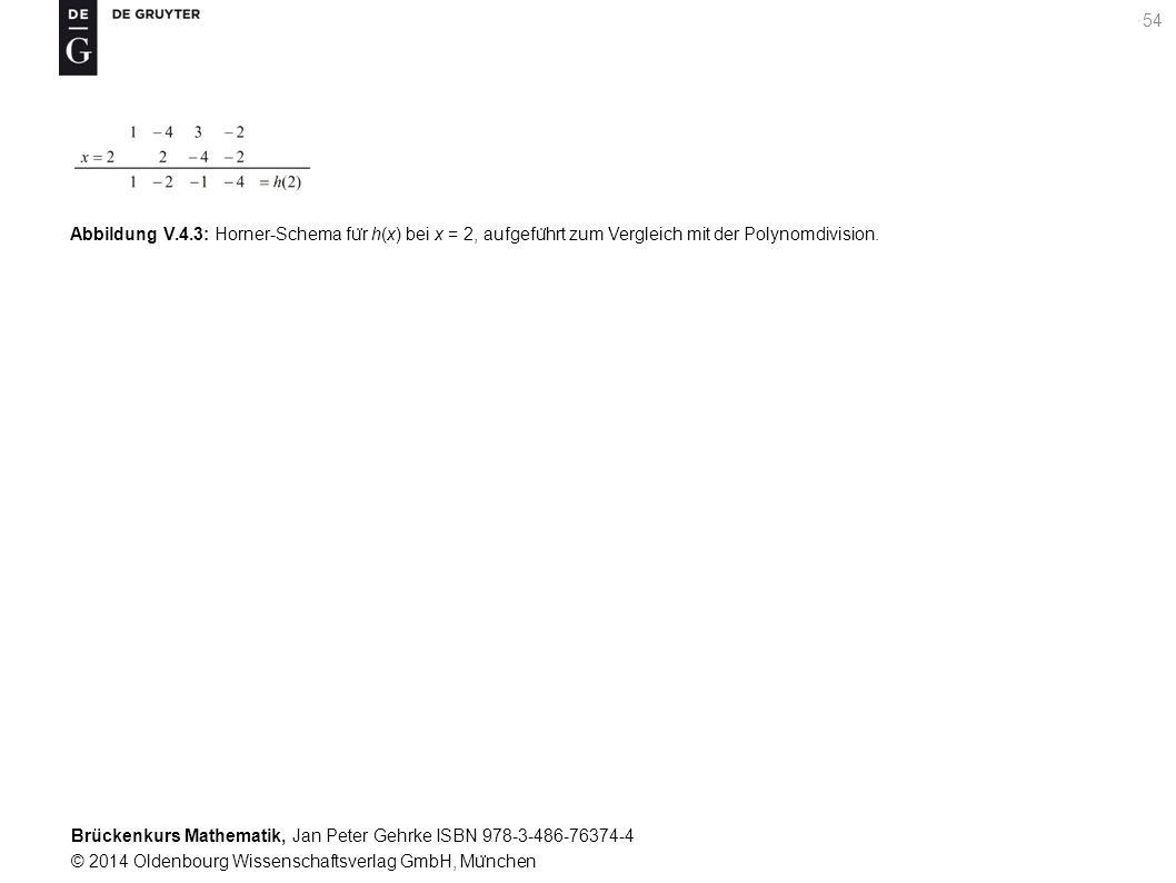 Brückenkurs Mathematik, Jan Peter Gehrke ISBN 978-3-486-76374-4 © 2014 Oldenbourg Wissenschaftsverlag GmbH, Mu ̈ nchen 54 Abbildung V.4.3: Horner-Schema fu ̈ r h(x) bei x = 2, aufgefu ̈ hrt zum Vergleich mit der Polynomdivision.