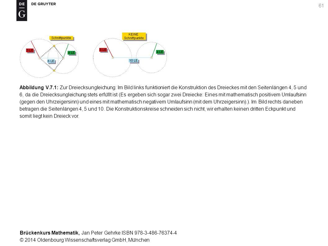 Brückenkurs Mathematik, Jan Peter Gehrke ISBN 978-3-486-76374-4 © 2014 Oldenbourg Wissenschaftsverlag GmbH, Mu ̈ nchen 61 Abbildung V.7.1: Zur Dreiecksungleichung: Im Bild links funktioniert die Konstruktion des Dreieckes mit den Seitenlängen 4, 5 und 6, da die Dreiecksungleichung stets erfu ̈ llt ist (Es ergeben sich sogar zwei Dreiecke: Eines mit mathematisch positivem Umlaufsinn (gegen den Uhrzeigersinn) und eines mit mathematisch negativem Umlaufsinn (mit dem Uhrzeigersinn).).