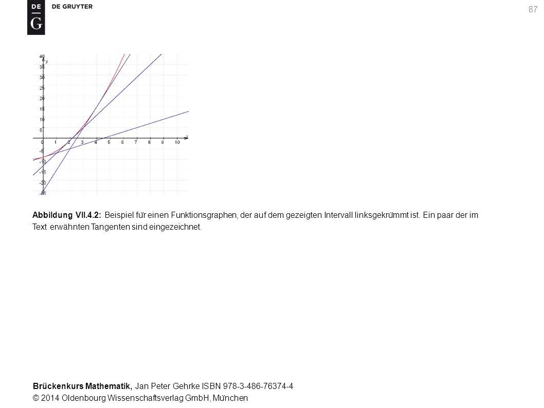 Brückenkurs Mathematik, Jan Peter Gehrke ISBN 978-3-486-76374-4 © 2014 Oldenbourg Wissenschaftsverlag GmbH, Mu ̈ nchen 87 Abbildung VII.4.2: Beispiel fu ̈ r einen Funktionsgraphen, der auf dem gezeigten Intervall linksgekru ̈ mmt ist.