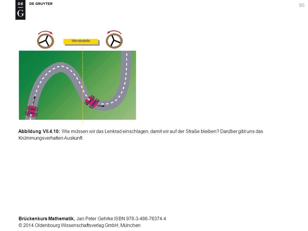 Brückenkurs Mathematik, Jan Peter Gehrke ISBN 978-3-486-76374-4 © 2014 Oldenbourg Wissenschaftsverlag GmbH, Mu ̈ nchen 95 Abbildung VII.4.10: Wie mu ̈ ssen wir das Lenkrad einschlagen, damit wir auf der Straße bleiben.