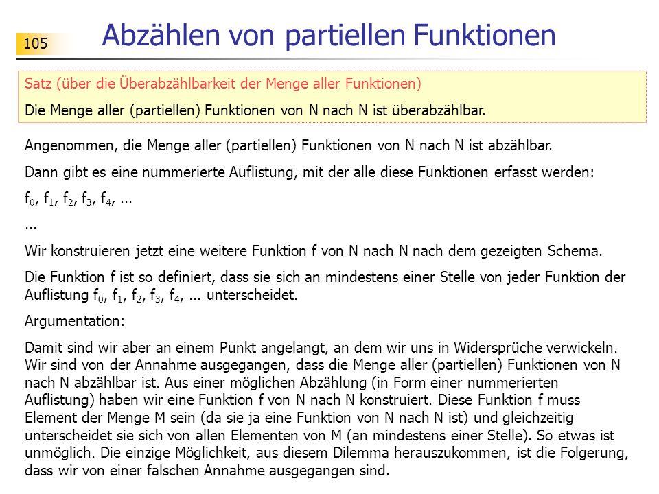 105 Abzählen von partiellen Funktionen Angenommen, die Menge aller (partiellen) Funktionen von N nach N ist abzählbar.