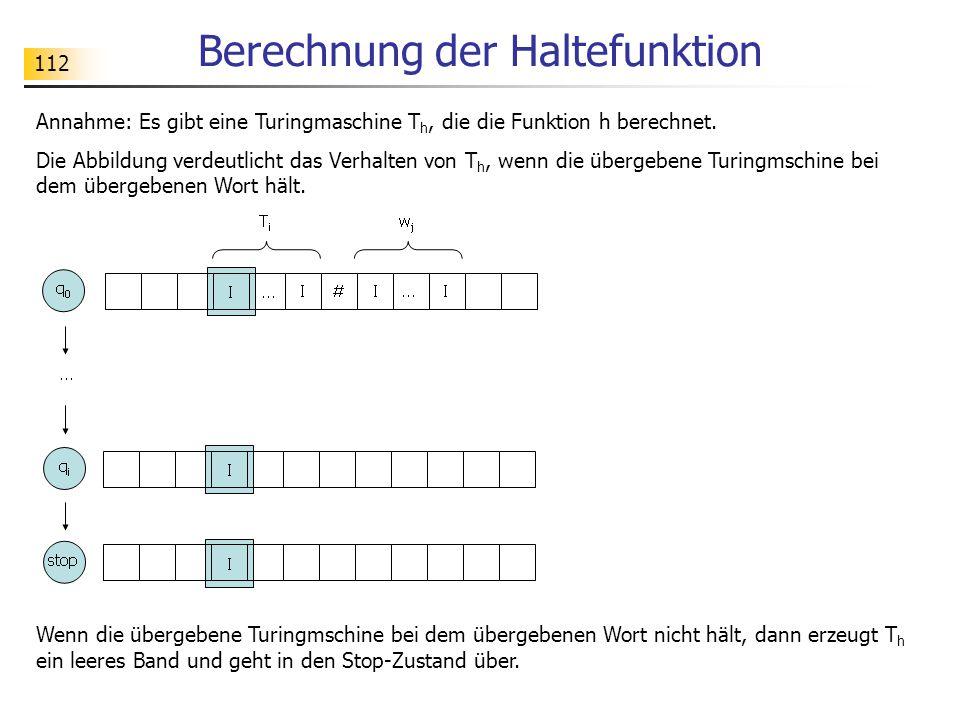 112 Berechnung der Haltefunktion Annahme: Es gibt eine Turingmaschine T h, die die Funktion h berechnet.