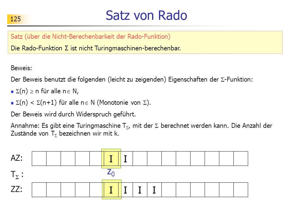 125 Satz von Rado Beweis: Der Beweis benutzt die folgenden (leicht zu zeigenden) Eigenschaften der  -Funktion:  (n)  n für alle n  N,  (n) <  (n+1) für alle n  N (Monotonie von  ).