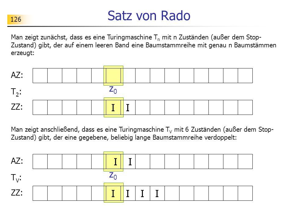 126 Satz von Rado Man zeigt zunächst, dass es eine Turingmaschine T n mit n Zuständen (außer dem Stop- Zustand) gibt, der auf einem leeren Band eine Baumstammreihe mit genau n Baumstämmen erzeugt: AZ: ZZ: I I z0z0 T2:T2: Man zeigt anschließend, dass es eine Turingmaschine T V mit 6 Zuständen (außer dem Stop- Zustand) gibt, der eine gegebene, beliebig lange Baumstammreihe verdoppelt: AZ: ZZ: I I z0z0 TV:TV: II II