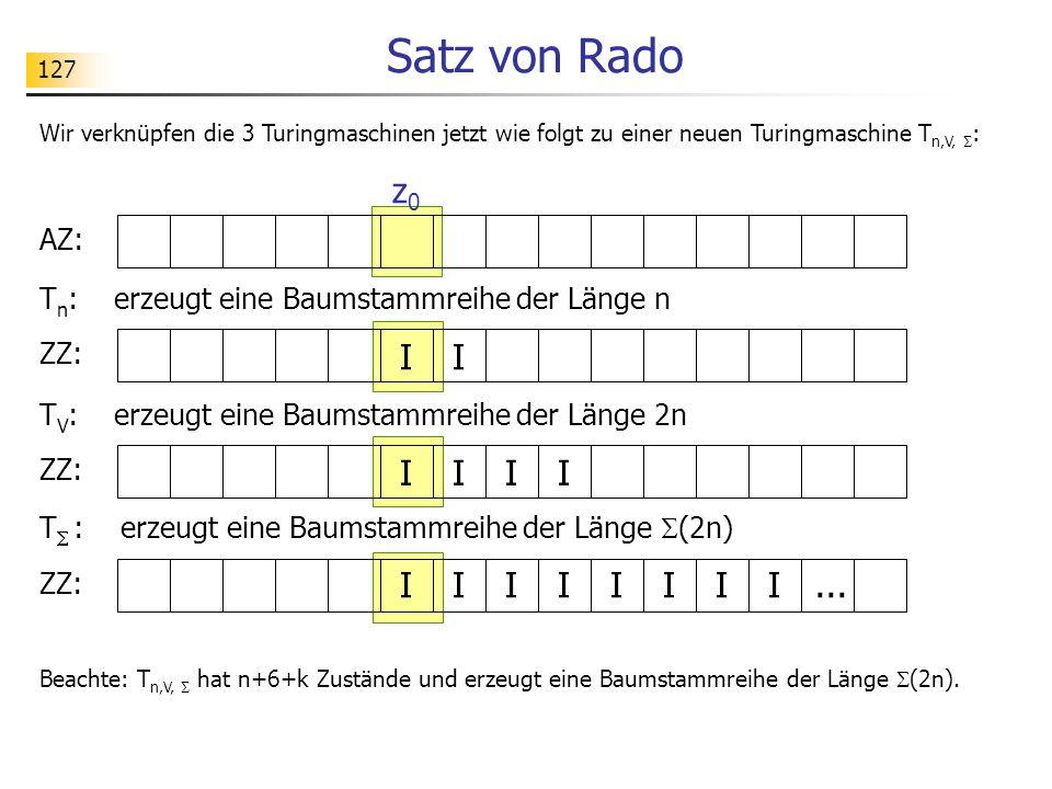 127 Satz von Rado T n : erzeugt eine Baumstammreihe der Länge n Wir verknüpfen die 3 Turingmaschinen jetzt wie folgt zu einer neuen Turingmaschine T n,V,  : AZ: ZZ: I I z0z0 I I T V : erzeugt eine Baumstammreihe der Länge 2n II ZZ: I I T  : erzeugt eine Baumstammreihe der Länge  (2n) IIIIII...