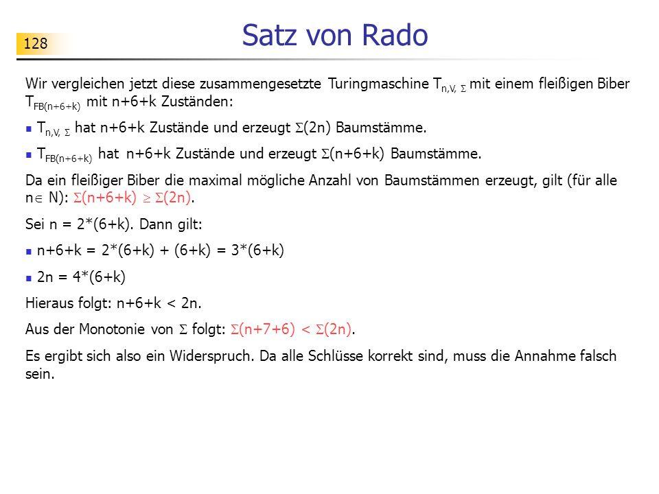 128 Satz von Rado Wir vergleichen jetzt diese zusammengesetzte Turingmaschine T n,V,  mit einem fleißigen Biber T FB(n+6+k) mit n+6+k Zuständen: T n,V,  hat n+6+k Zustände und erzeugt  (2n) Baumstämme.