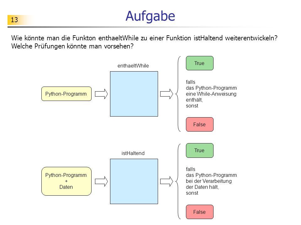 13 Aufgabe Wie könnte man die Funkton enthaeltWhile zu einer Funktion istHaltend weiterentwickeln.