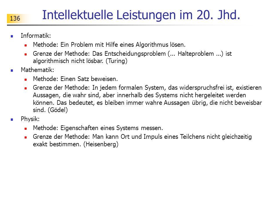 136 Intellektuelle Leistungen im 20. Jhd.