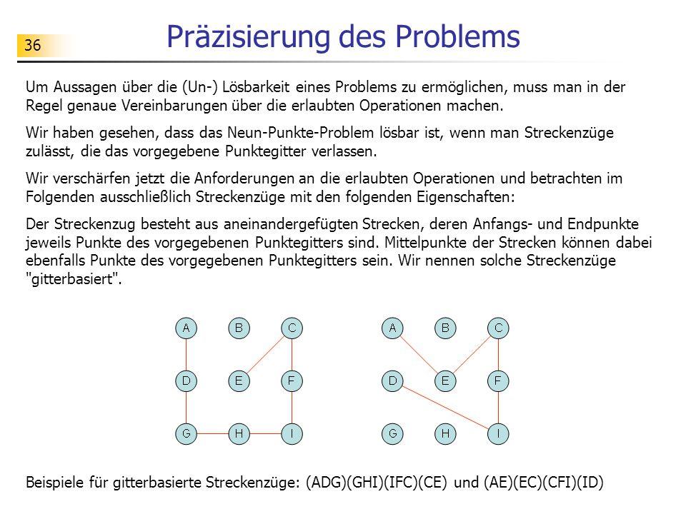 36 Präzisierung des Problems Um Aussagen über die (Un-) Lösbarkeit eines Problems zu ermöglichen, muss man in der Regel genaue Vereinbarungen über die erlaubten Operationen machen.