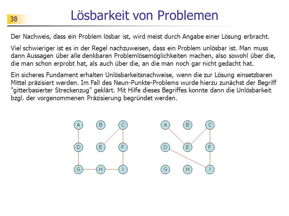 38 Lösbarkeit von Problemen Der Nachweis, dass ein Problem lösbar ist, wird meist durch Angabe einer Lösung erbracht.