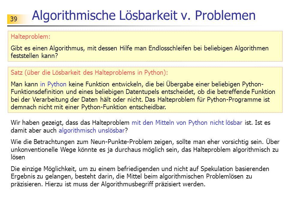 39 Algorithmische Lösbarkeit v.